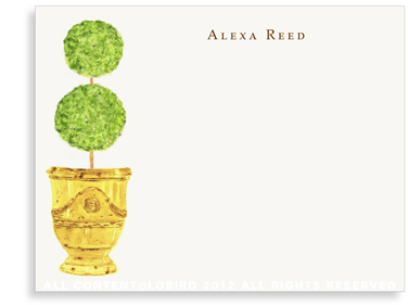 Antique Anduze Yellow - Double Ball Topiary - Flat Note Cards