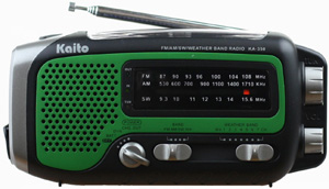 Kaito Electronics KA350-GREEN KA350 Handheld Hand Crank Solar Powered AM/FM/SW Radio w/ Cell Phone Charger Output