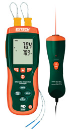 Extech HD200-NIST Differential Thermometer Datalogger + IR Thermometer (NIST Certified)