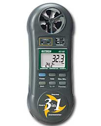 Extech 45160 3-in-1 Humidity, Temperature and Airflow Wind Meter with FREE UPS