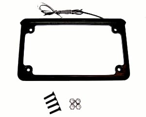 Motorcycle license plate frame die cast aluminum with a gloss black finish and led light source