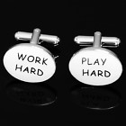Work Hard and Play Hard Business, Leisure and Pleasure Cufflinks in a Quality Silver Setting