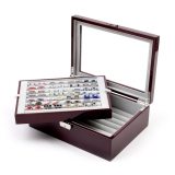 Holds 72 Pairs; Mahogany Deluxe Cuff Links Collector's Case