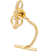 Golden Treble Clef  with Cubic Zirconia Inlays.  Wear as Tie Tack or Lapel Pin