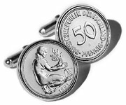German Mark Coin Cufflinks in a Solid Sterling Silver Setting