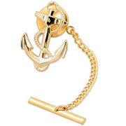 14KT Gold Clad Anchor Tie Tack ... or Wear as a Lapel Pin