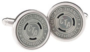 Sterling Silver Plated Chicago CTA Transit Tokens Cufflinks
