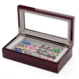 Holds 20 Pairs, Mahogany Cufflink Collector's Collector Case