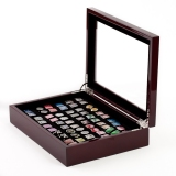 Solid Mahogany Cuff Link Collectors Display and Storage Case; Holds 36 Pairs