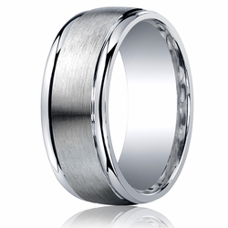 Men's Argentium Silver Ring 9MM Brushed Center Wedding Band