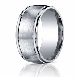 Men's Argentium Silver Ring 10MM Wide Brushed Center Wedding Band
