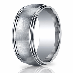 10MM Argentium Silver Double Stepped Edge Men's Ring