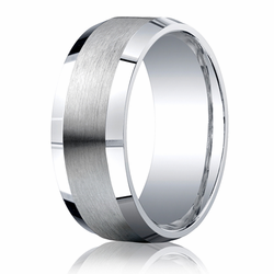 Argentium Silver 9MM Beveled Edge Brushed Center Men's Wedding Ring