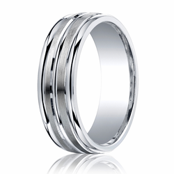 7MM Argentium Silver Ring w/ Brushed Center Lines