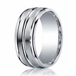 9MM Argentium Silver Ring w/ Brushed Center Lines Wedding Band