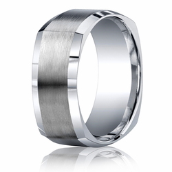 9MM Argentium Silver Squared Style Ring w/ Brushed Center Men's Band