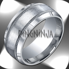 10mm Argentium Silver Ring Brushed Center W Silver Rope