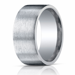 Argentium Silver 10MM Pipe Cut Brushed Wedding Ring