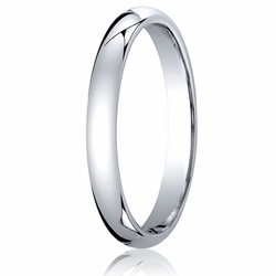 3MM Classic Domed 10K White Gold Comfort Fit Wedding Band Men's or Women's