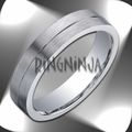 Argentium Silver Ring 5MM Brushed Center Wedding Ring w/ Grooves