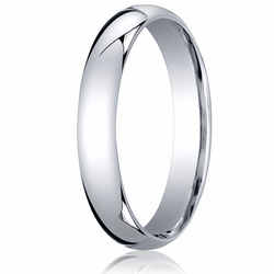 4MM Classic Domed 10K White Gold Comfort Fit Wedding Band Unisex