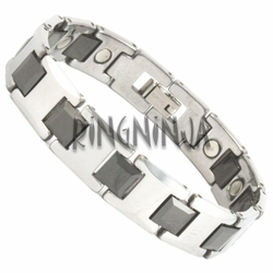 12MM Tungsten Silver and Black Magnetic Therapy Bracelet