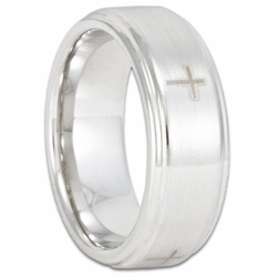 8MM Stepped Edge Cobalt Chrome Wedding Ring w/ Four Christian Crosses