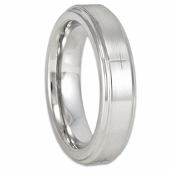 5MM Stepped Edge Cobalt Chrome Wedding Ring w/ Four Christian Crosses (Women's or Men's)