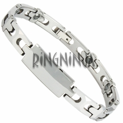 7MM Cross Link Shiny Tungsten ID Bracelet with Magnetic Therapy