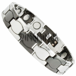 12MM Modern Silver & Black Color Tungsten Magnetic Therapy Bracelet