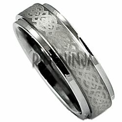 6MM Laser Etched 'Celtic' Tungsten Wedding Ring Stepped Edge