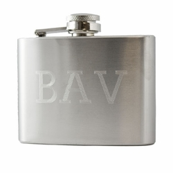 4oz Engraved Initials Stainless Steel Hip Flask & Funnel