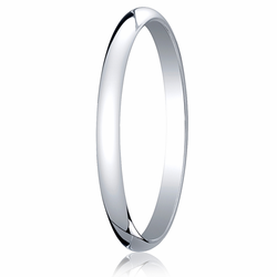2MM Classic Domed 10K White Gold Traditional Fit Wedding Ring