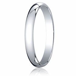 3MM Classic Domed 10K White Gold Traditional Fit Wedding Ring