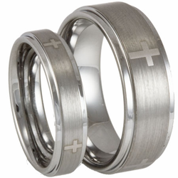 His and Her Tungsten Wedding Ring Set Stepped Edge w/ Crosses