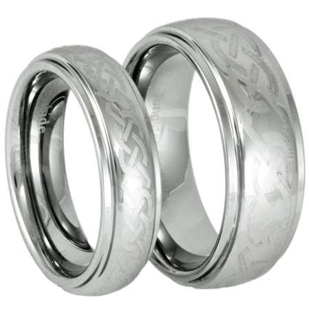 and Hers Laser Etched Celtic Tungsten Wedding Ring Set