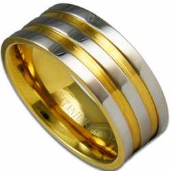 8MM Titanium Wedding Ring w/ 18K Gold Grooves
