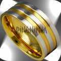 Titanium Rings with 18K Gold
