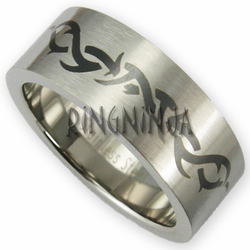 8MM Stainless Steel Tribal Pattern Ring