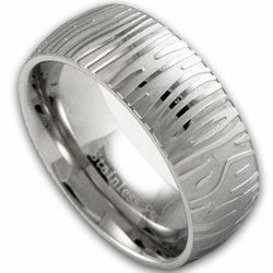 8MM Stainless Steel 'Damascus' Style Ring