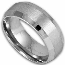 8MM Stainless Steel Ring w/ Beveled Edges and Brushed Center