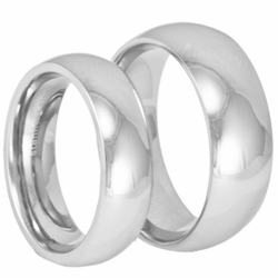 His and Hers Classic Domed Stainless Steel Wedding Ring Set