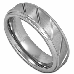 6MM Unisex Tungsten Ring w/ Stepped Edge and Diagonal Grooves