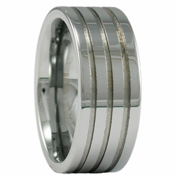 9MM Mens Tungsten Wedding Ring w/ Three Grooves