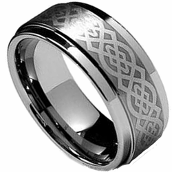 9MM Laser Etched 'Celtic' Tungsten Wedding Ring Stepped Edge