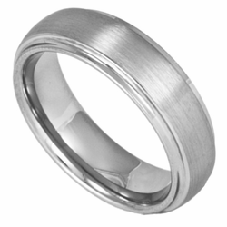 6MM Classic Domed Mens or Womens (Unisex) Tungsten Ring w/ Brushed Center