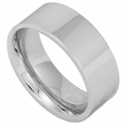 8MM Pipe Cut Stainless Steel Wedding Ring