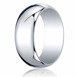 8MM Classic Domed 10K White Gold Traditional Fit Wedding Ring