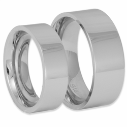 His and Her Modern Pipe Cut Stainless Steel Bands Wedding Ring Set