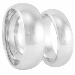 His and Hers Classic Domed Cobalt Wedding Band Set